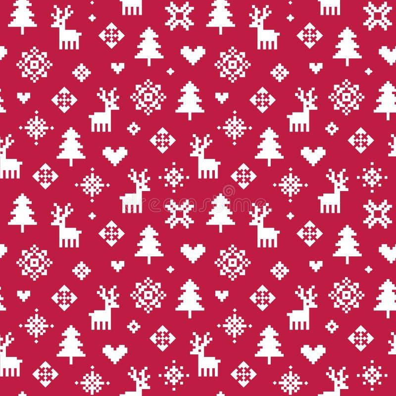 Милый красный цвет и белизна картины пиксела леса зимы иллюстрация штока