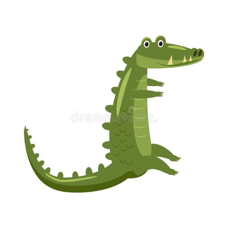 Милый крокодил, животное, гад, тенденция, стиль мультфильма, вектор, иллюстрация, изолированная на белой предпосылке иллюстрация вектора