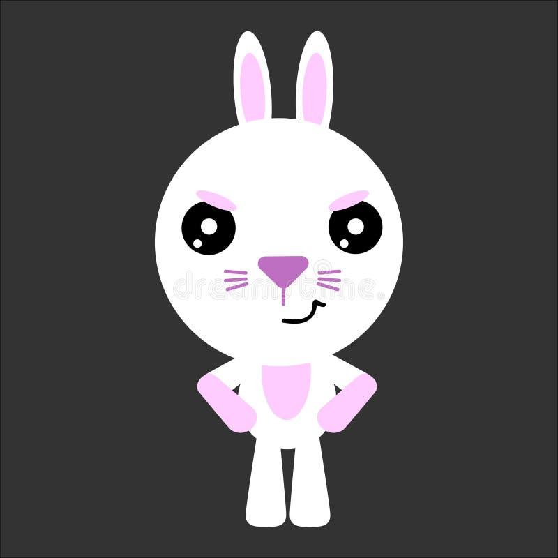 Милый кролик вектора Характер мультфильма сердитый Серая предпосылка Плоский дизайн вектор иллюстрация штока