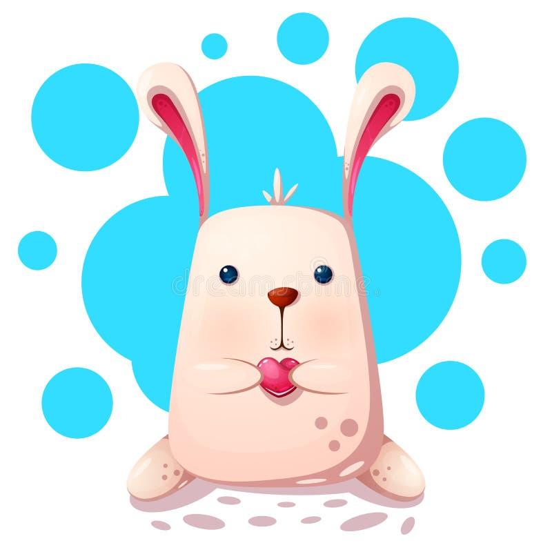 милый кролик влюбленности сердца иллюстрация штока