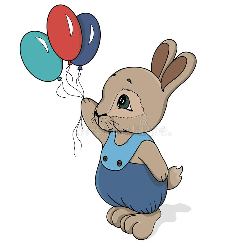 Милый кролик внутри с воздушными шарами в руке и в трусах иллюстрация штока