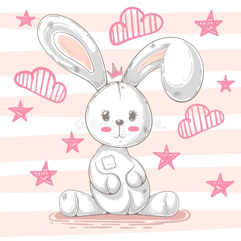 Милый кролик игрушечного - иллюстрация мультфильма иллюстрация вектора