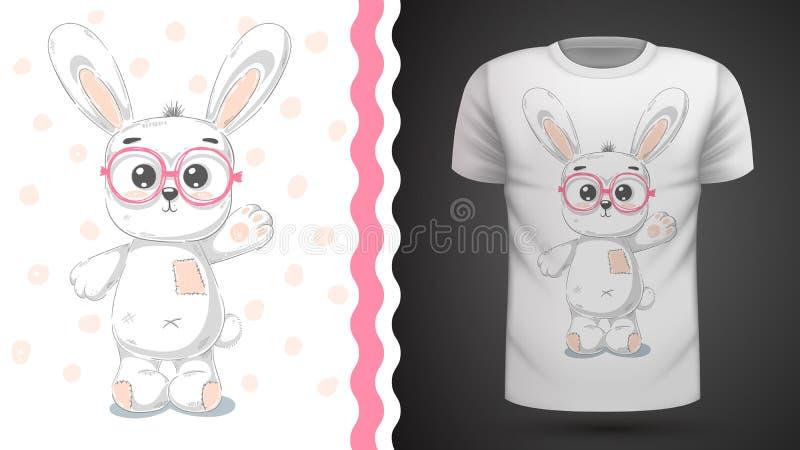 Милый кролик - идея для футболки печати иллюстрация вектора