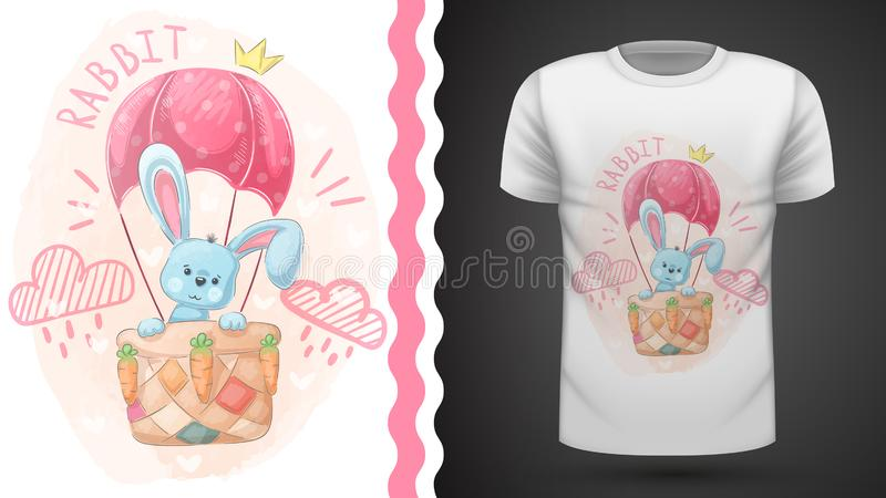 Милый кролик и воздушный шар - идея для футболки печати иллюстрация штока