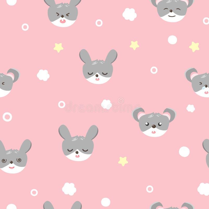 Милый кролик и мышь, животное грызуна, картина младенца безшовная, концепция пижам прелестная для мультфильма вектора текстуры пр иллюстрация вектора