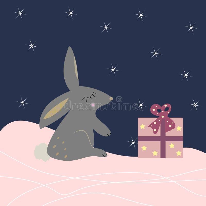 Милый кролик с настоящим моментом иллюстрация вектора