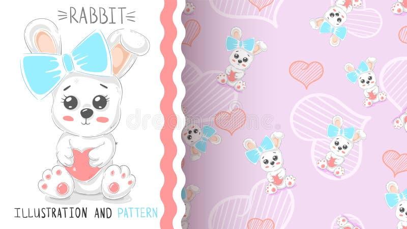 Милый кролик с сердцем - безшовной картиной иллюстрация штока