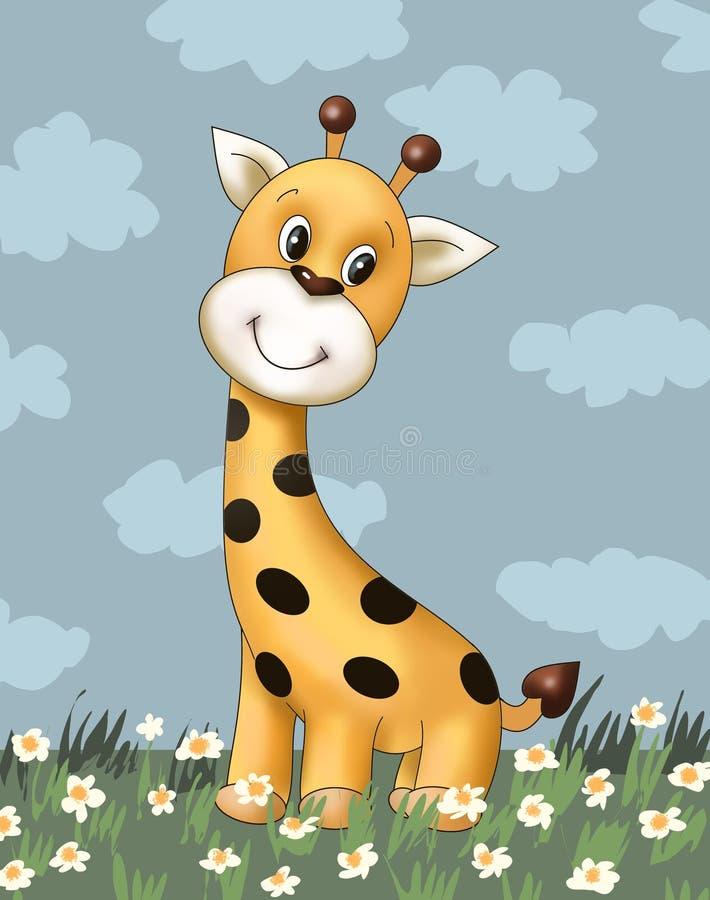 Милый крошечный новичок жирафа, животное, книжка-раскраска ребенка, книга рассказа детей, illustrasion, открытка, игрушка иллюстрация штока