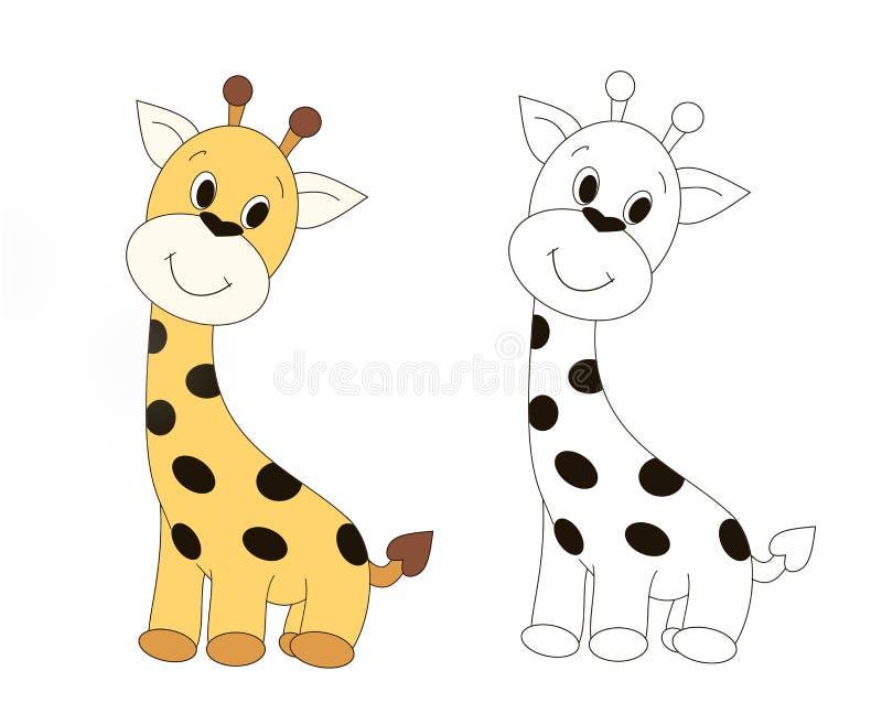 Милый крошечный новичок жирафа, животное, книжка-раскраска ребенка, книга рассказа детей, illustrasion, открытка, игрушка бесплатная иллюстрация