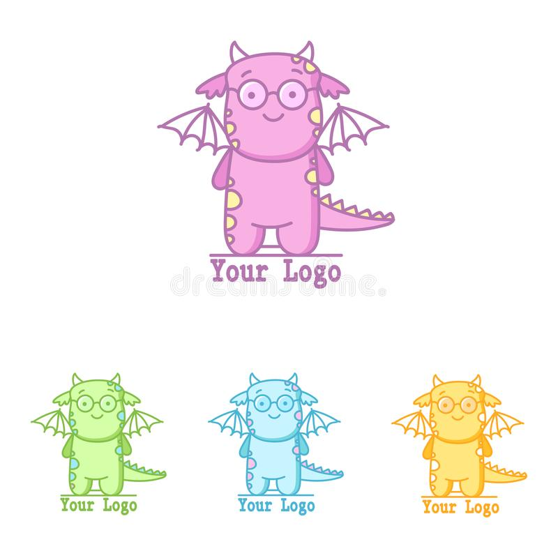 Милый логотип с динозавром летания Маленький dino в других цветах иллюстрация вектора