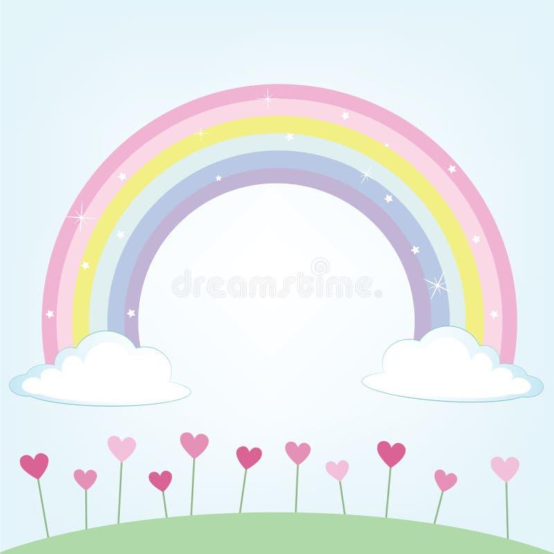 Милый луг и облака с иллюстрацией вектора радуги красочной бесплатная иллюстрация