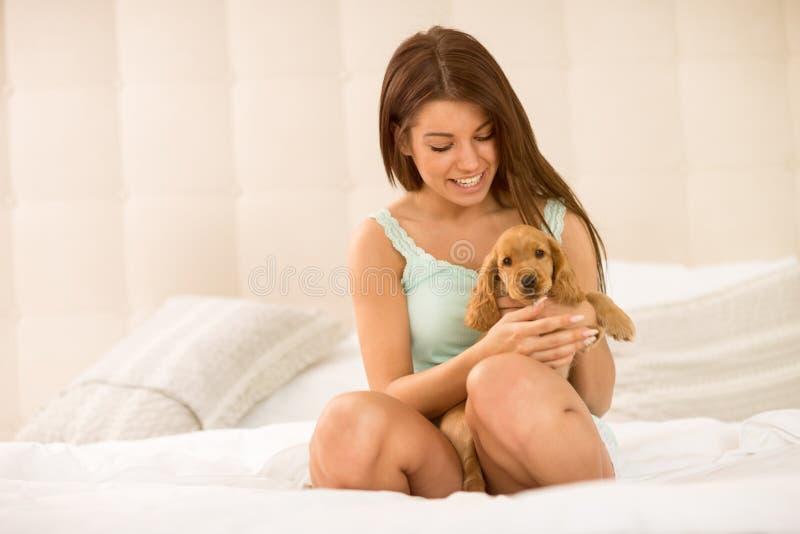Милый любимчик щенка владением девушки очень сладостный стоковая фотография