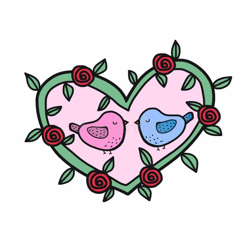 Милый любовник птицы в иллюстрации мультфильма венка формы сердца иллюстрация вектора