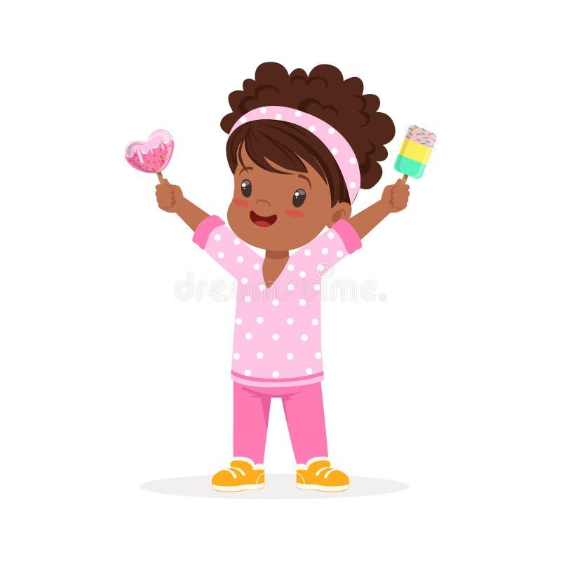 Милый маленький африканский характер девушки чувствуя счастливый с ее иллюстрацией вектора шаржа мороженого иллюстрация вектора