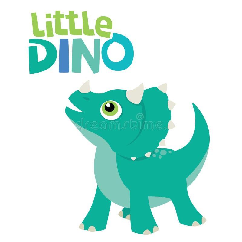 Милый маленький динозавр трицератопса младенца смотря вверх с меньшим Dino помечая буквами иллюстрацию вектора изолированную на б иллюстрация вектора