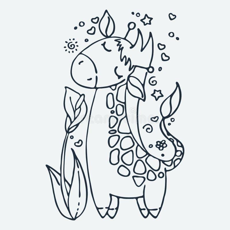 Милый маленький жираф, иллюстрация вектора руки мультфильма вычерченная Милый для страниц расцветки младенца, печати футболки, пе иллюстрация вектора