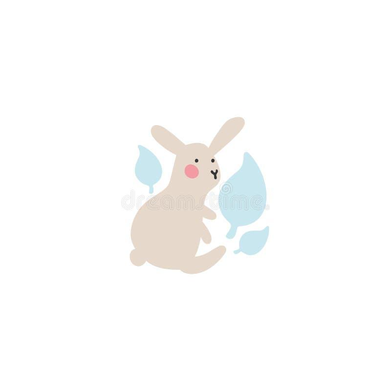 Милый маленький заяц сидит и держит голубые листья в смущенном государстве Идея альбома для новорожденных, украшения детей иллюстрация вектора