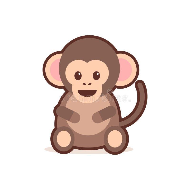 Милый маленький комический персонаж мультфильма обезьяны с усмехаясь стиля kawaii аниме emoji стороны животными счастливого смешн иллюстрация штока