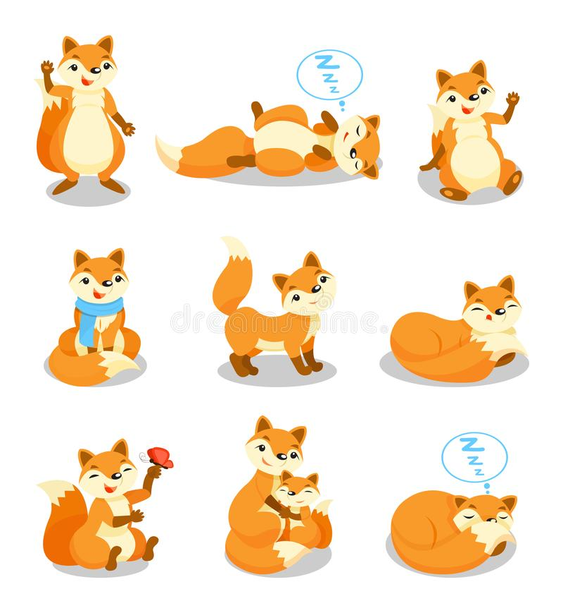 Милый маленький комплект лисы, смешной персонаж из мультфильма щенка в различных ситуациях vector иллюстрации на белой предпосылк иллюстрация вектора