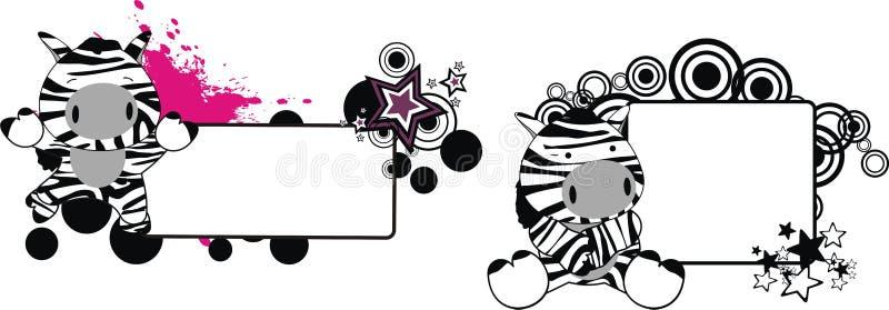 Милый маленький комплект copyspace шаржа зебры иллюстрация штока