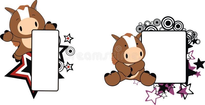 Милый маленький комплект copyspace шаржа лошади иллюстрация вектора