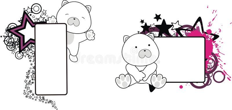 Милый маленький комплект copyspace шаржа полярного медведя бесплатная иллюстрация