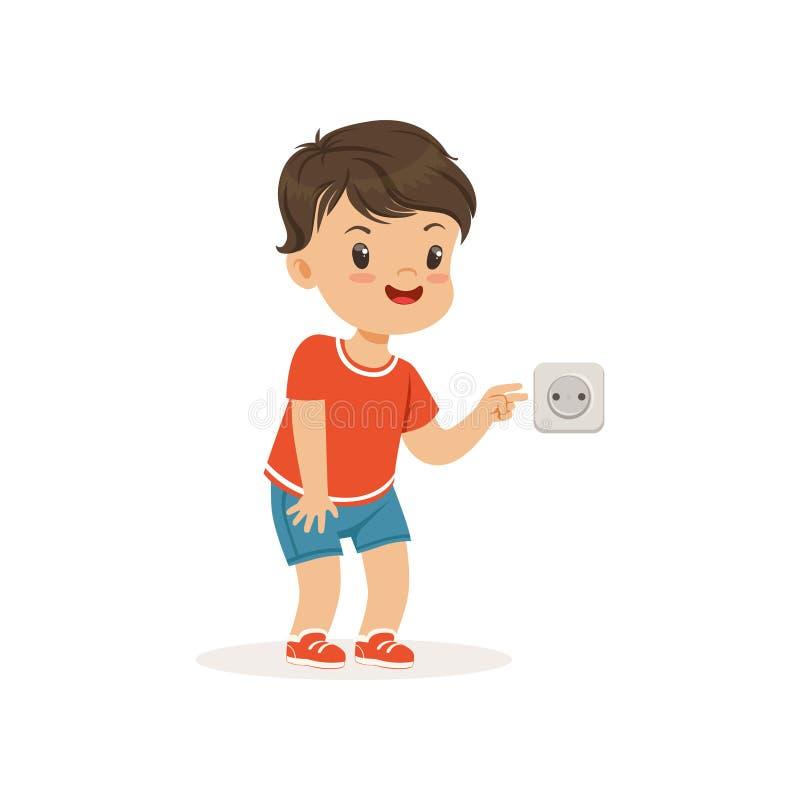 Милый маленький мальчик задиры вставляя его пальцы в электрический выход, маленький ребенка хулигана жизнерадостный, плохое повед иллюстрация штока