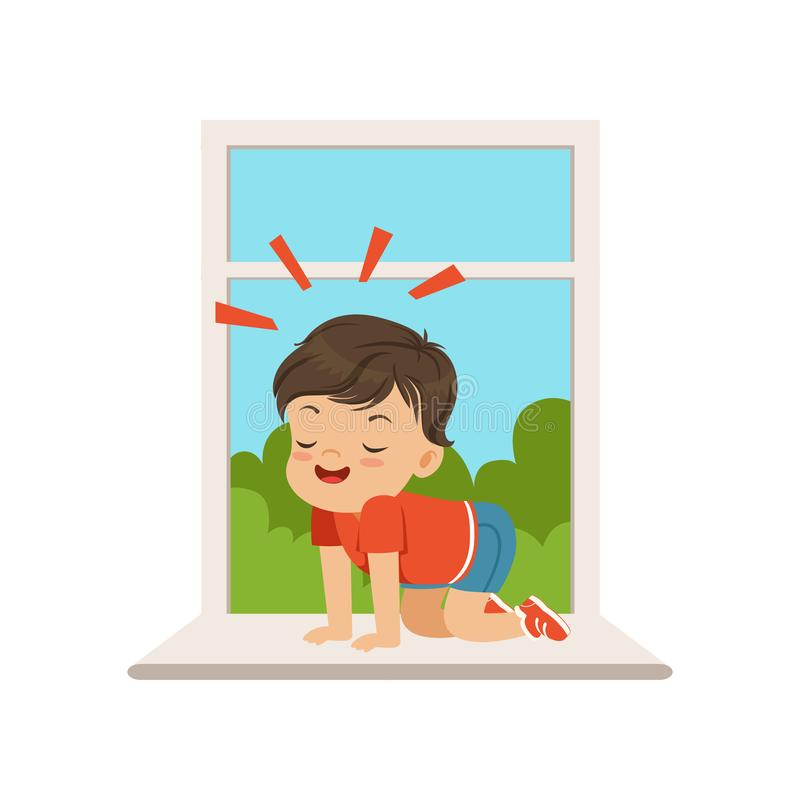 Милый маленький мальчик сидя на windowsill на открытом окне, маленький ребенок задиры хулигана жизнерадостный, плохое поведение р иллюстрация штока