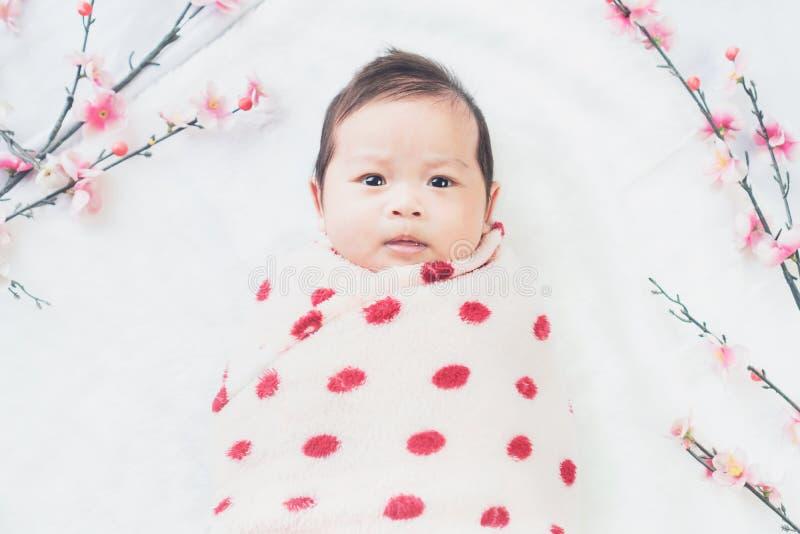 Милый маленький младенец лежит на белой ткани и обернутый в лоскутном одеяле, смотря камеру На белой предпосылке стоковая фотография rf
