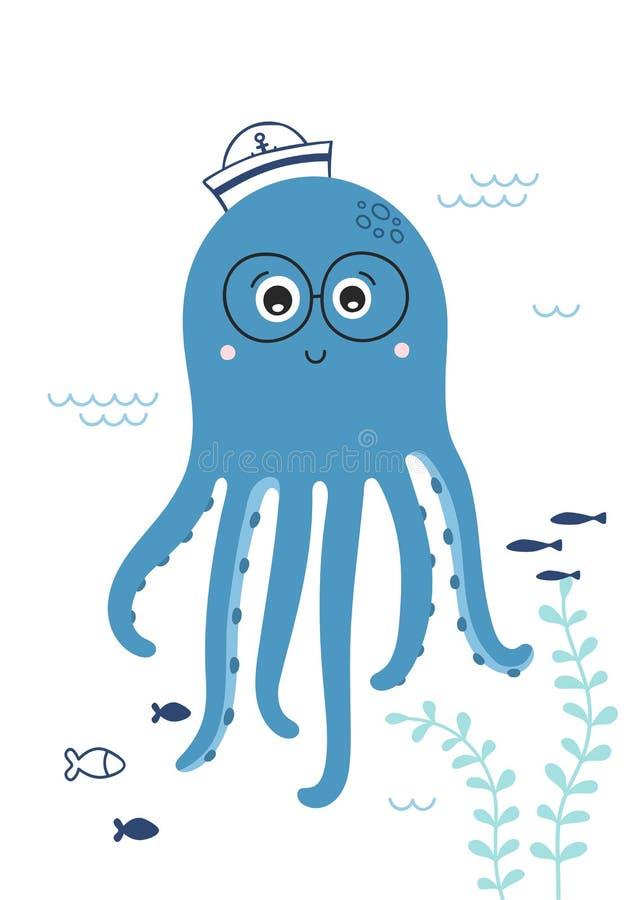 Милый маленький осьминог со стеклами Ребяческая печать для питомника Сладкое морское животное r иллюстрация вектора