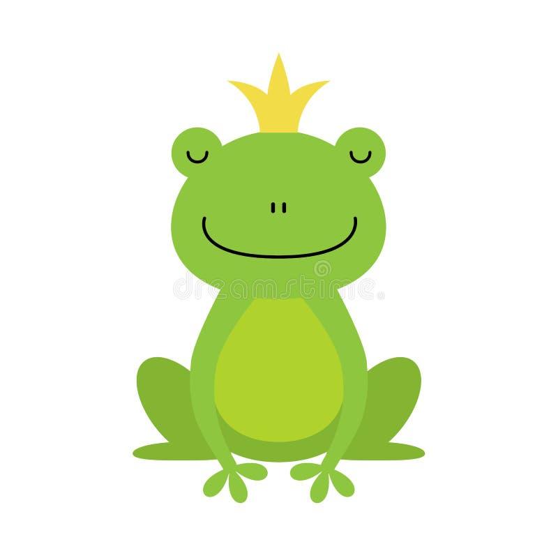Милый маленький принц лягушки с золотой кроной на своей главной иллюстрации иллюстрация вектора