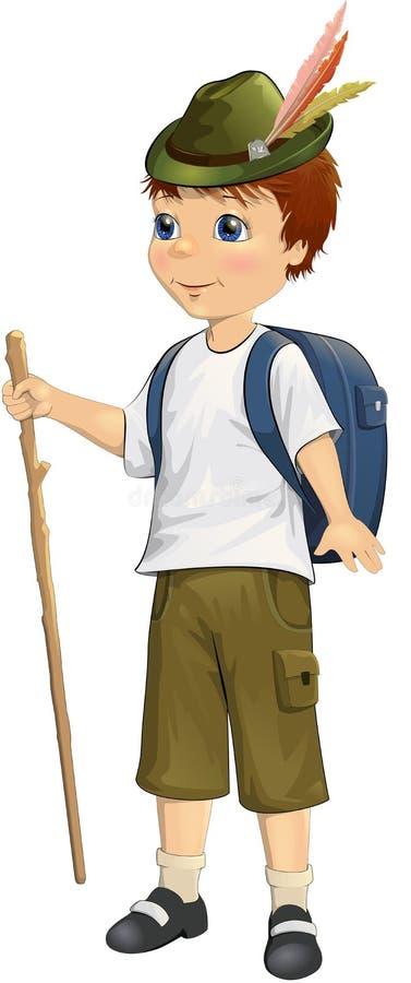 Милый маленький путешественник с рюкзаком с ручкой в его руке иллюстрация вектора