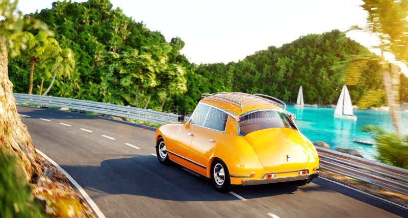 Милый маленький ретро автомобиль идет дорогой вдоль красивой гавани между горой в летнем дне иллюстрация вектора