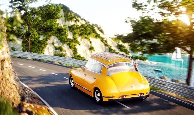 Милый маленький ретро автомобиль идет дорогой вдоль красивой гавани между горой в летнем дне бесплатная иллюстрация