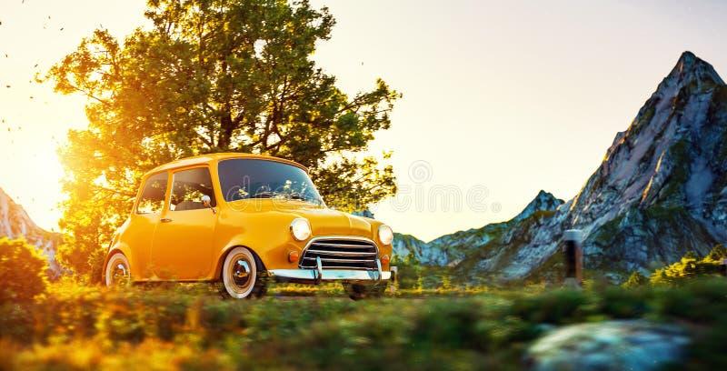 Милый маленький ретро автомобиль иллюстрация штока