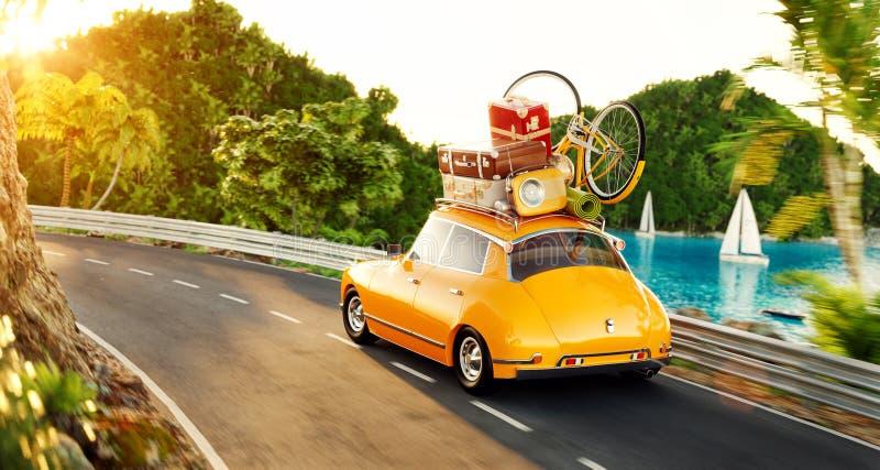 Милый маленький ретро автомобиль с чемоданами и велосипедом на верхней части идет дорогой иллюстрация штока