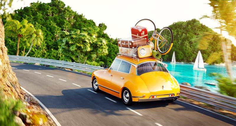 Милый маленький ретро автомобиль с чемоданами и велосипедом на верхней части идет дорогой бесплатная иллюстрация