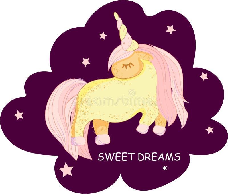 Милый маленький розовый волшебный единорог r Печать для футболки Романтичная иллюстрация чертежа руки для иллюстрация штока