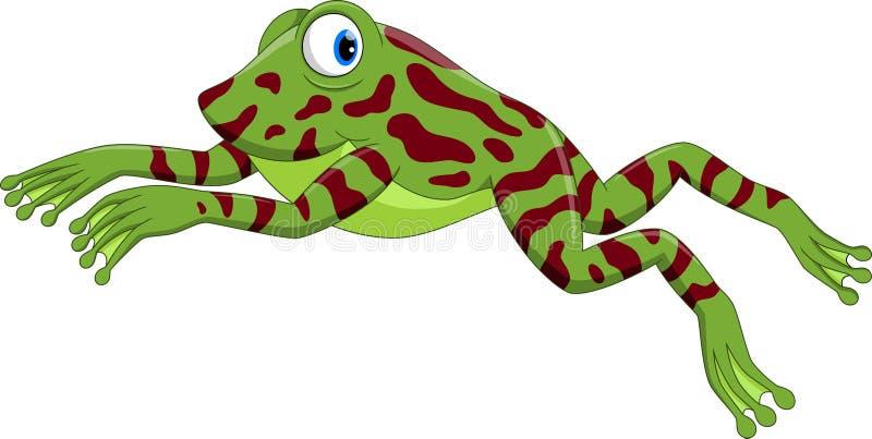 Милый маленький скакать шаржа лягушки иллюстрация вектора