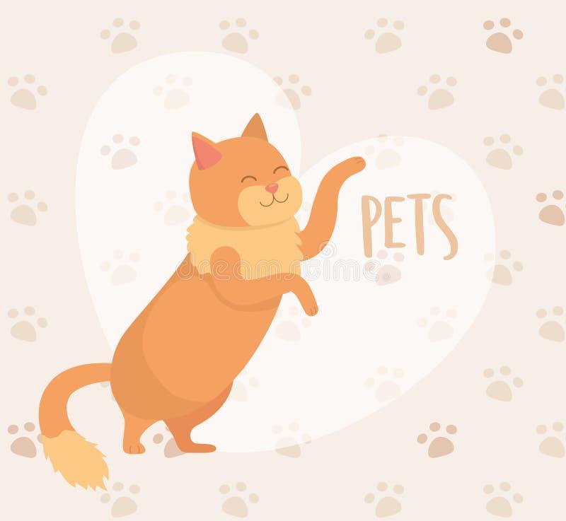 Милый маленький талисман кота с предпосылкой pawprints иллюстрация вектора