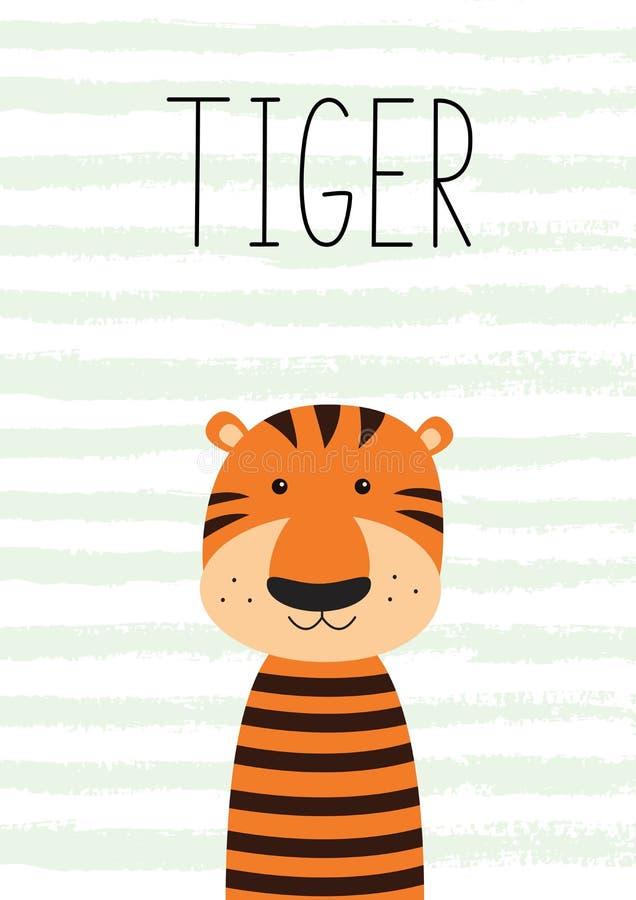 милый маленький тигр Плакат, карточка для детей иллюстрация вектора
