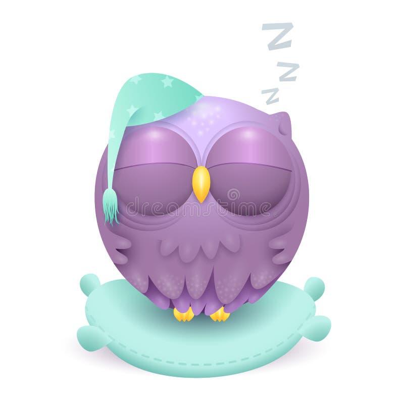 Милый маленький характер сыча спать на подушке иллюстрация вектора