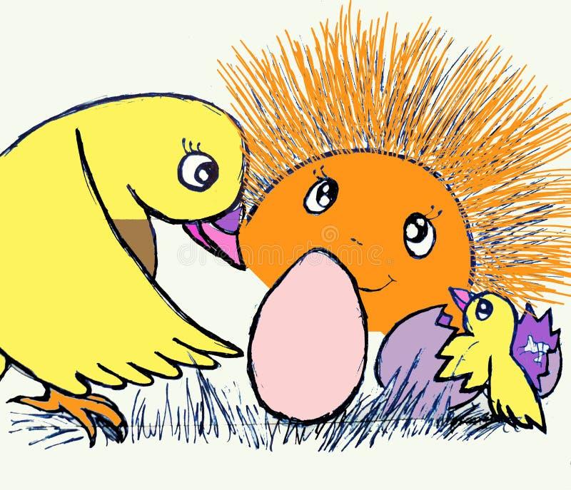 Милый маленький цыпленок был рожден Солнце на предпосылке бесплатная иллюстрация