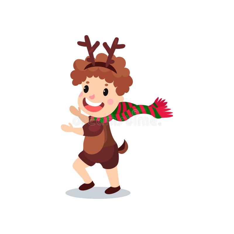 Милый мальчик в костюме северного оленя, ребенк в праздничной иллюстрации вектора шаржа причудливого платья иллюстрация штока