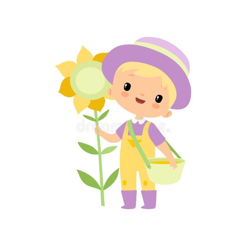 Милый мальчик в прозодеждах, резиновых ботинках и шляпе стоя рядом с солнцецветом, молодой персонаж из мультфильма фермера приним иллюстрация штока