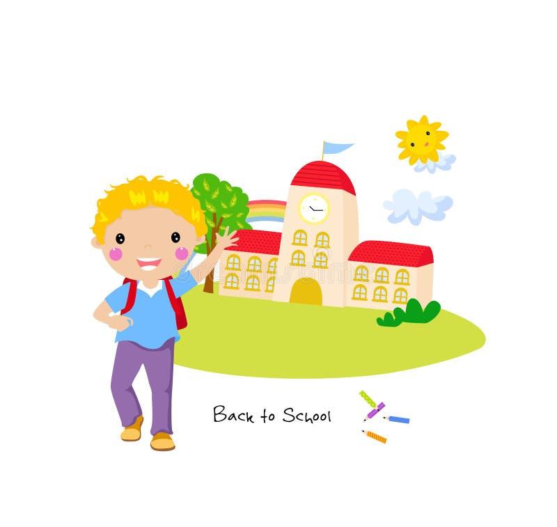 Милый мальчик гуляя к школе бесплатная иллюстрация