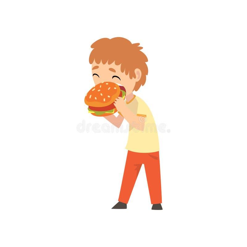 Милый мальчик есть бургер, ребенка наслаждаясь едой иллюстрации вектора фаст-фуда бесплатная иллюстрация