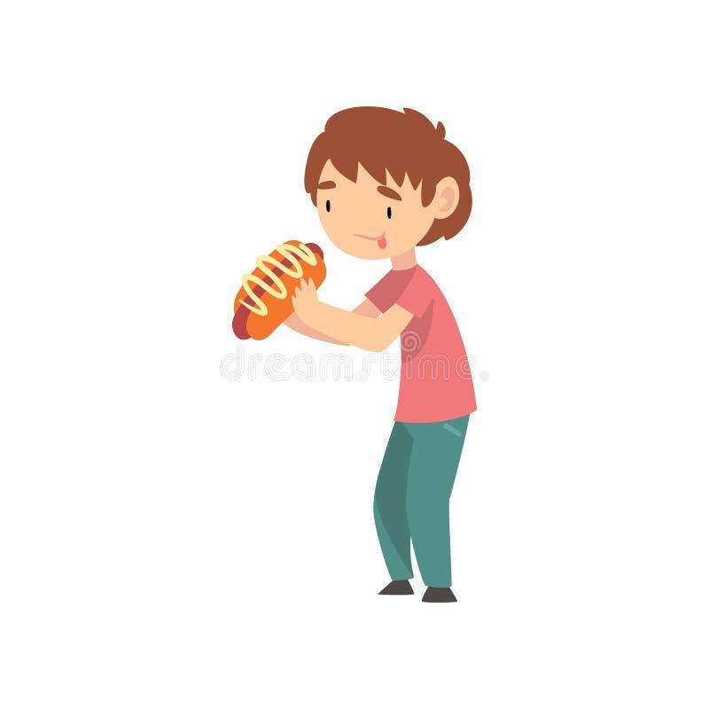 Милый мальчик есть горячую сосиску, ребенка наслаждаясь едой иллюстрации вектора фаст-фуда иллюстрация вектора