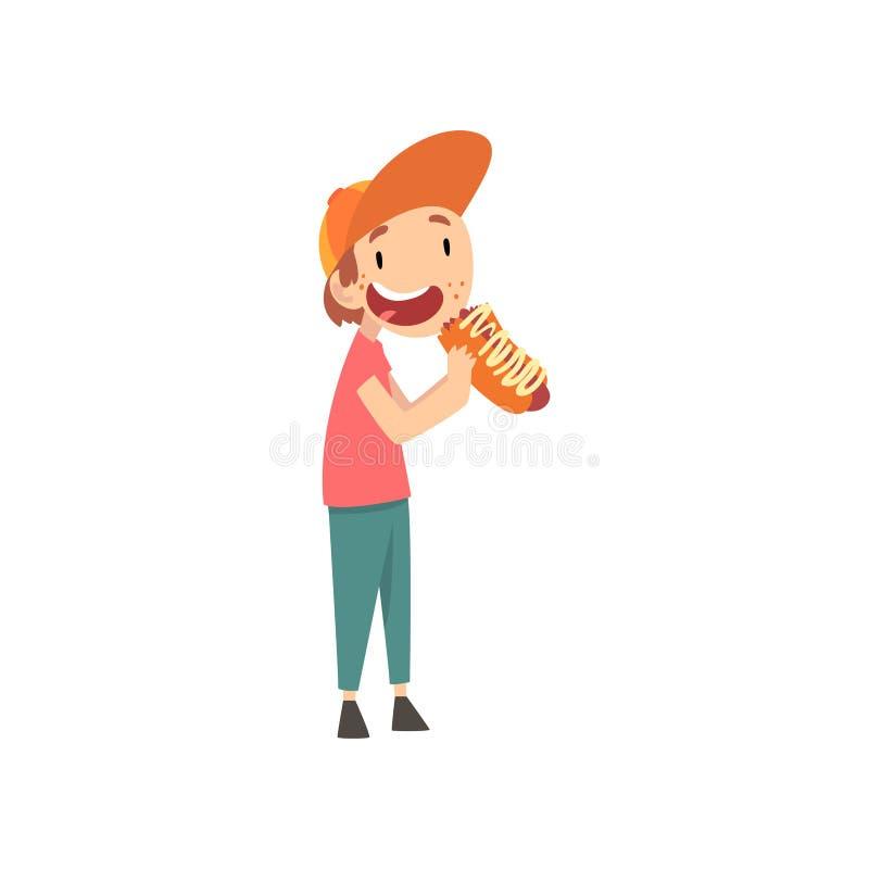 Милый мальчик есть горячую сосиску, ребенка наслаждаясь едой иллюстрации вектора фаст-фуда иллюстрация штока