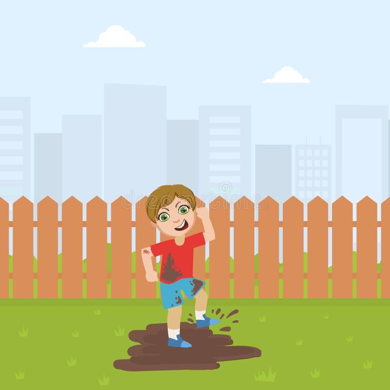 Милый мальчик задиры скача в грязь, плохую иллюстрацию вектора поведения иллюстрация вектора